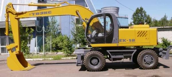 Возможности, особенности и характеристики колесного экскаватора ТВЭКС ЕК-18