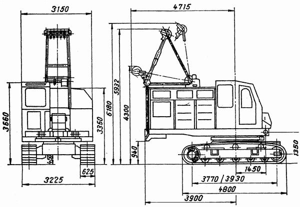 Габаритные размеры и устройство гусеничного крана РДК 25