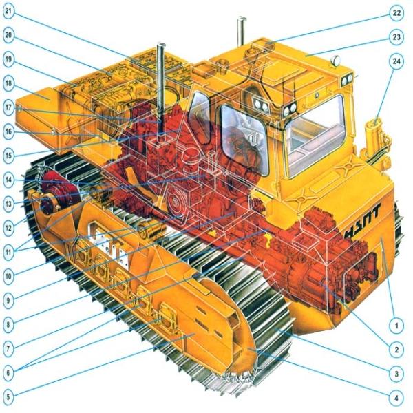 Конструкция бульдозера на основе трактора Т-330