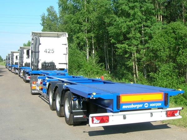 Особенности, преимущества и недостатки контейнеровоза Полуприцеп-контейнеровоз Meusburger sw 360g