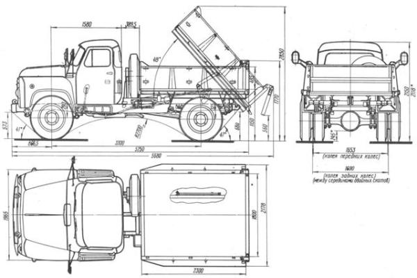 Двигатель, КПП и колесная база самосвала ГАЗ-52
