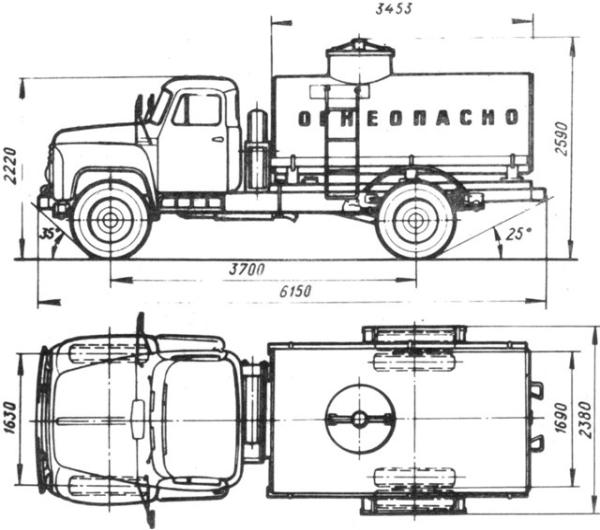 Устройство и конструктивные особенности бензовоза на базе автомобиля ГАЗ-53